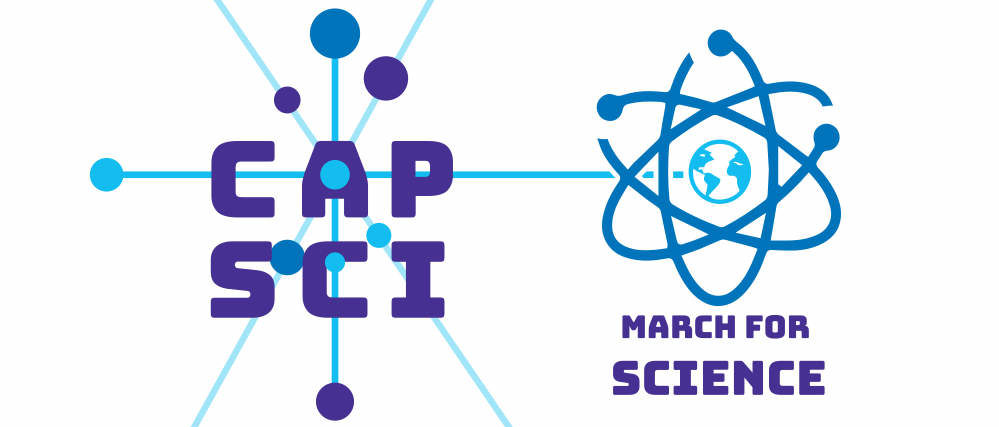 A combination of the CapSci and March for Science logos.
