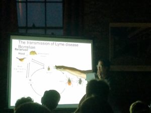 "A Scientist gives a lecture on Lyme Disease at ""Science on Tap"" Sponsored by CapSci"
